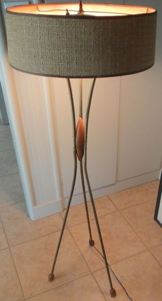 VINTAGE 50s ATOMIC FLOOR LAMP MID CENTURY MODERN RETRO BRASS WOOD DANISH