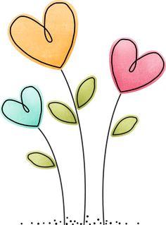 Heart Flower Clip Art - Flower and Garden Photo Doodle Art, Doodle Drawings, Art Drawings For Kids, Easy Drawings, Drawing For Kids, Envelope Art, Flower Clipart, Flower Doodles