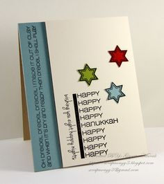 Happy night of Hanukkah! We are having so much fun sharing ideas for this fun set each night of Hanukkah. Holiday Cards, Christmas Cards, Jewish Celebrations, Hanukkah Cards, Cool Cards, Clear Stamps, Eid, Making Ideas, Card Ideas