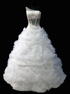 One Shoulder Organza Ball Gown Wedding Dress | Ava Leie bridal