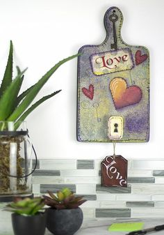 Love Painted Bread Board -- Hang a painted bread board with love.  #decoartprojects