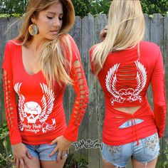 Demi Loon DIY Sexy Motorcycle Tattoo Slashed Shirt Western Biker Top Tee s M x L | eBay