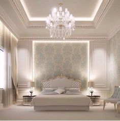 Ideas for wallpaper bedroom classic interior design Blue Bedroom, Trendy Bedroom, Modern Bedroom, Bedroom Classic, Classic Bedding, Bedroom Neutral, Neutral Walls, Bedroom Small, Bedroom Colors
