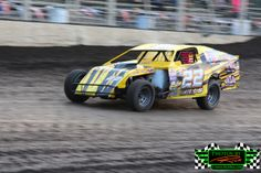 Rod Peterson from Thief River Falls MN in his #22 Midwest Modified racing down the front stretch at The Legendary Bullring River Cities Spee...