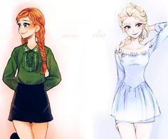 Super cute modern Anna and Elsa
