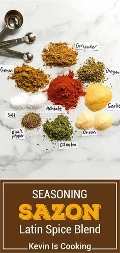 Spice Blends, Spice Mixes, Sazon Seasoning, Sweet And Spicy Sauce, Homemade Seasonings, Food Dye, Side Dishes Easy, Coriander, Mexican Food Recipes