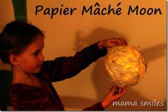 Papier Mache Moon Nightlight - did you know you could use watered-down school blue to make papier mache?