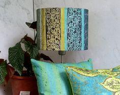 Linen Drum Lamp Shade in Blue Green Cyan by BelfastBayShadeCo