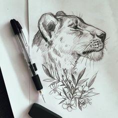 Tattoo lion small beautiful creatures 43 new Ideas Feather Tattoos, Body Art Tattoos, Tattoo Drawings, Sleeve Tattoos, Tatoos, Lion Drawing, Painting & Drawing, Female Lion Tattoo, Borboleta Tattoo