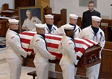 Stockdale retired to Coronado, California, as he slowly succumbed to Alzheimer's disease.[18] He died from the illness on July 5, 2005. Stockdale's funeral service was held at the Naval Academy Chapel and he was buried at the United States Naval Academy Cemetery.