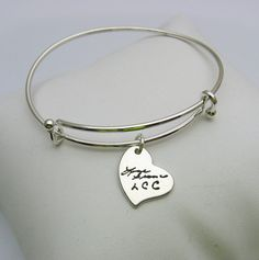 Sterling Silver Charm Bracelet Handwriting by ATimelessImpression