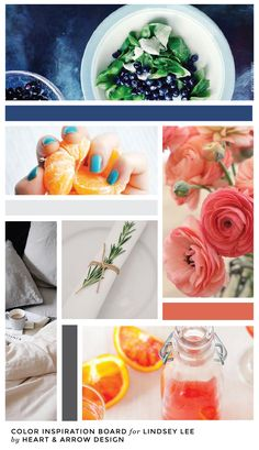 Coral, Grey, and Navy Color Inspiration Board  |  by Heart & Arrow