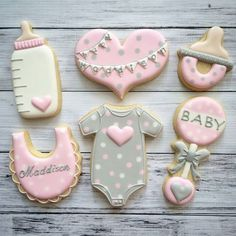 Wie man eine Mädchen-Babyparty plant – Baby shower desserts – How To Plan A Girl Baby Shower – Baby shower desserts – # Girls Baby Shower Cookies Cupcake, Fancy Cookies, Cookie Icing, Iced Cookies, Cute Cookies, Royal Icing Cookies, Cookies Et Biscuits, Sugar Cookies, Cookie Favors