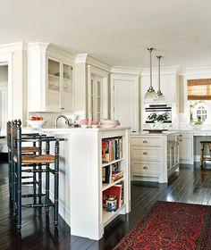 light cabinets & marble, dark floors, window treatment, rug