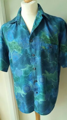 M&S Vintage Silk Shirt Marks & Spencer Mens Size L Blue Green Funky Disco Retro