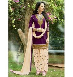 Amazing Designer Carsal Patiyala Suit In Purple & Beige Color