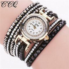 CCQ Brand Fashion Leather Bracelet Watch Women Luxury Full Crystal Quartz Wristwatch Relogio Feminino Clock C82