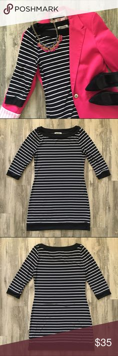 White House Black Market Striped Dress Easy striped knit dress with 3/4 length sleeves. Soft polyester knit fabric. Excellent used condition. No signs of wear. White House Black Market Dresses Mini
