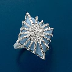 Milky Aquamarine and Diamond Starburst Ring In Sterling Silver from  Ross-Simons