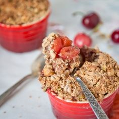 Late Spring (almost Summer) Fruit Nutty Crumble with rhubarb, cherries, strawberries, apples, almonds, hazelnuts & pistachio. Gluten Free