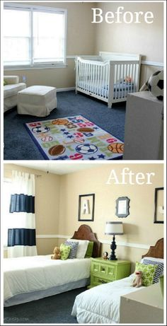 Decorating Boys Room // two twin beds... great for sleep overs even if only one kid.