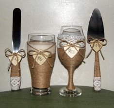 Country Wedding Wine Glass and Beer Glass / Cake Serving Set / Rustic Wedding…