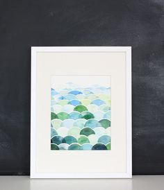 Handmade Watercolor Abstract Blue and Green Field and Sky Painting- 8x10 Wall Art Watercolor Print. $20.00, via Etsy.