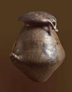 *ITALY ~ Ash Urn, Etruscan Villanova Culture. Archaic Etruscan art, I Villanovan culture, 9th century BC. BC funeral urn with lid biconical. Impasto with decorative prints.