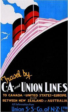 1920's Union Lines Ocean Liner Art Travel Poster Advertisement Print Canada