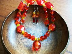 Bohemian Sunrise Necklace & Earring SET in Red by Dare2beUNIQUE
