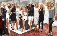 Monochrome beauties: The Sports Illustrated Swimsuit 2015 models (L-R) Genevieve Morton, Solveig Mork Hansen, Emily DiDonato, Kelly Rohrbach, Hailey Clauson, Chanel Iman, Jessica Gomes, Samantha Hoopes, Rose Bertram, Kate Bock and Hannah Ferguson