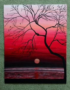 Original Sunset Painting Wall Art Large by TheCrochetxCraze Shadow Painting, Painting & Drawing, Large Painting, Simple Wall Art, Large Wall Art, Easy Wall, Christmas Paintings On Canvas, Pastel Art, Painting Inspiration
