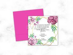 Baptism Invitations, Rose, Pink, Roses