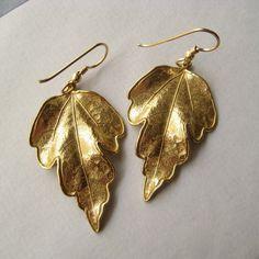 Leaf Earrings Bronze Leaf GoldFill Earrings by juliegarland, $32.00