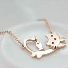 Lovely Catty and Fish Pendant Titanium Stainless Steel Gold Plated Women's Necklace - USD $45.95