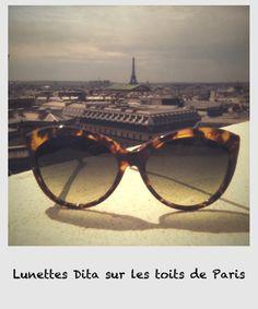 Les lunettes Dita sur les toits de Paris, Galeries Lafayette, boulevard Haussmann.