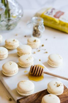 Chamomile and caramelized honey macarons  Delicately flavored with chamomile and filled with a lightly salted caramelized honey buttercream. It's Spring in a single bite.