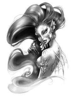 The Siren by darkodordevic on DeviantArt Mermaid Tattoo Designs, Mermaid Drawings, Mermaid Tattoos, Mermaid Artwork, Mermaid Paintings, Evil Mermaids, Fantasy Mermaids, Mermaids And Mermen, Sirene Tattoo