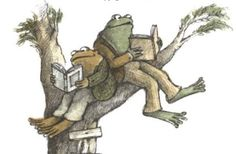 Frog and Toad reading in a tree ~ what a fun thing that would be to see.