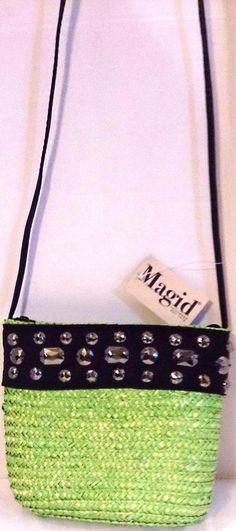 #LimeGreen #Crossbody #StrawPurse Black #Embellished #Jeweled #LongStrap New #Magid #MessengerCrossBody #CutePurse