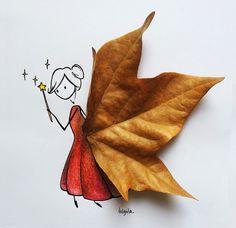 ilustraciones con hojas de Virgola. LAS ILUSTRACIONES DE VIRGOLA
