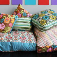 """Now that we've got you swooning over colorful living rooms, comfy couches, and DIY pillows, it's time to make some coziness of your own! We'd definitely put this in the """"weekend project"""" category as they take a little more time than our usual 30 minute projects."""
