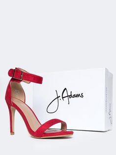 62fc49d5e30 Ankle Strap High Heel Sandal from J.Adams on ZOOSHOO. Shown in red suede