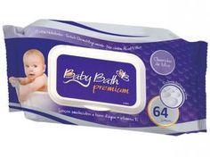 Lenços Umedecidos a Base de Água Baby Bath Premium - 64 Lenços - Brasbaby