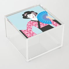 Geisha, Acrylic Box, Toy Chest, Storage Chest, Typography, Graphic Design, Abstract, Creative, Illustration