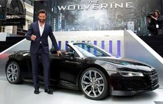 """The Wolverine"" Hugh Jackman with the 2014 AUDI R8  V10 Spyder ."