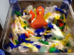 November sensory bin - students poke feathers into the attached cup behind the turkey.