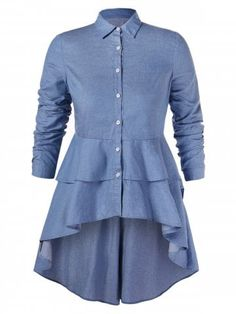 42 Off] Layered Plus Size High Low Shirt – Best Fashion Collection Kurti Neck Designs, Blouse Designs, Plus Size Blouses, Plus Size Dresses, Dress Shirts For Women, Clothes For Women, Shirt Collar Styles, High Low Shirt, Designs For Dresses