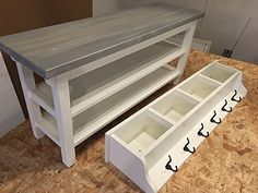 "Hallway/Mud Room/Foyer Bench (42"") With Second Shoe Shelf and Matching Coat Rack/Cubbie"