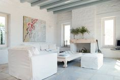 Greek summer house - white with colour splashes